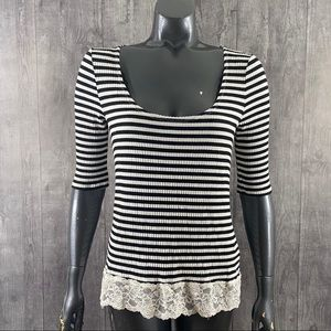 Denim & Supply Ralph Lauren Ribbed Lace Trim Top